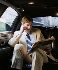 Businessman in limo